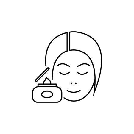 Skin care vector line icon, cosmetic cream, womans face