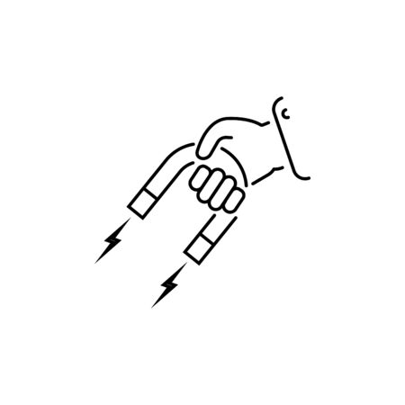 magnet in hand vector line icon