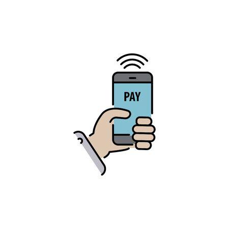 Payment with smartphone color vector icon, online mobile payment sign, symbol Ilustração