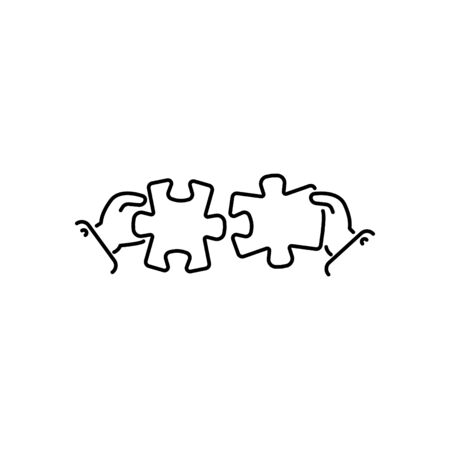 puzzles connect in hands line, linear vector icon, sign, symbol. Business matching concept. Connecting elements puzzle in hand businessman. Working together to solve problems. Cooperation, association Illustration