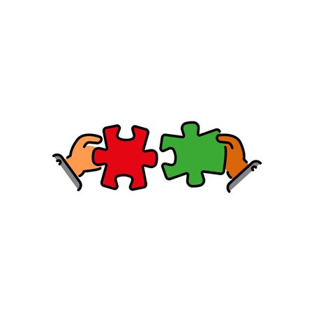 puzzles connect in hands color vector icon, sign, symbol. Business matching concept. Connecting elements puzzle in hand businessman. Working together to solve problems. Cooperation, association Stock Illustratie