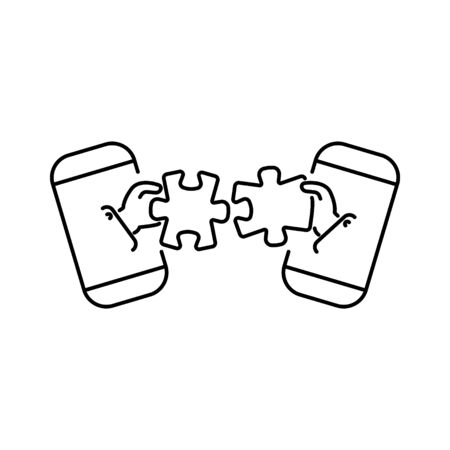 puzzles connect in hands from smartphone line, linear vector icon, sign, symbol. Business matching concept. Connecting elements puzzle in hand businessman. Working together to solve problems.