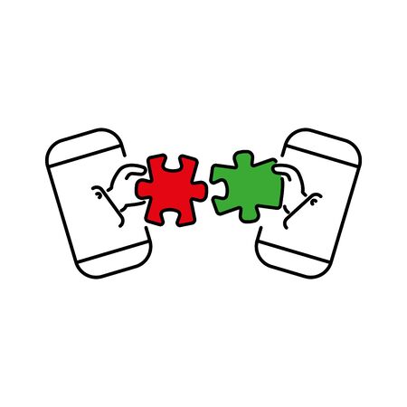 puzzles connect in hands from smartphone color vector icon, sign, symbol. Business matching concept. Connecting elements puzzle in hand businessman. Working together to solve problems.