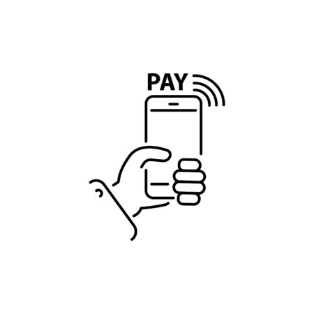 Payment with smartphone line, linear vector icon, online mobile payment sign, symbol