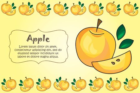Card for kitchen notes. Blank with yellow apple ornament. Kitchen card.  yellow apple