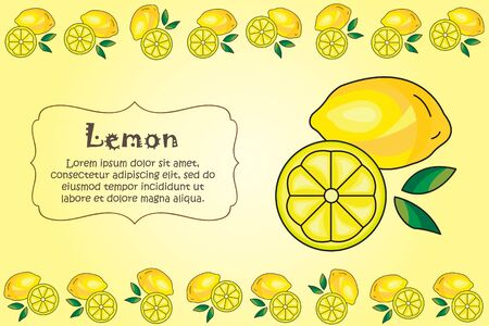 Card for kitchen notes. Blank with lemon ornament. Kitchen card. A lemon