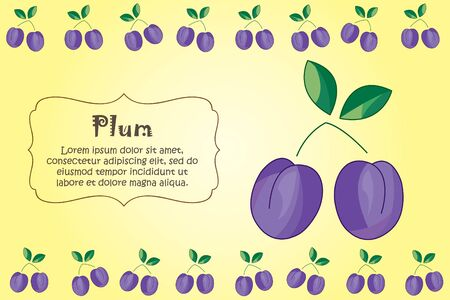 Card for kitchen notes. Blank with plum ornament. Kitchen card. A plum