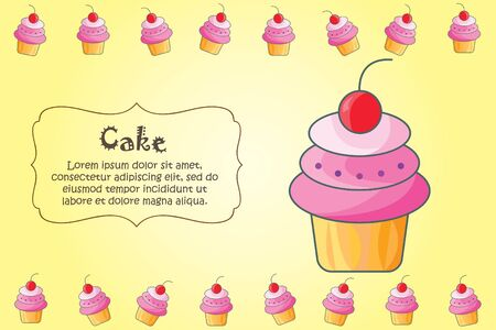 Card for kitchen notes. Blank with cake ornament. Kitchen card. A cake Ilustração