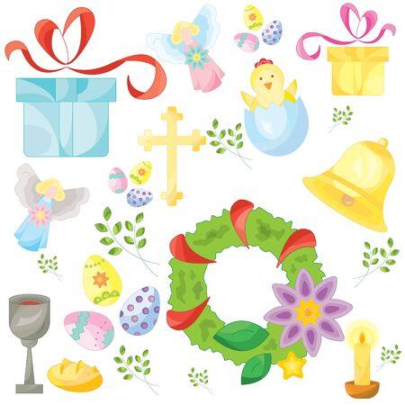 Set of easter color vector icons, signs, symbols. Easter pattern Ilustração