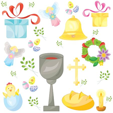 Set of easter color vector icons, signs, symbols. Easter pattern Stock Illustratie