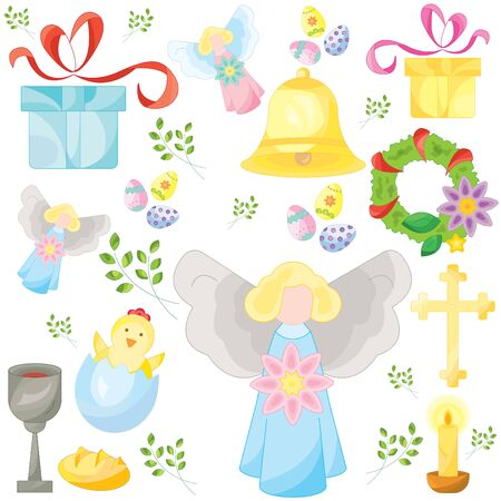 Set of easter color vector icons, signs, symbols. Easter pattern Çizim