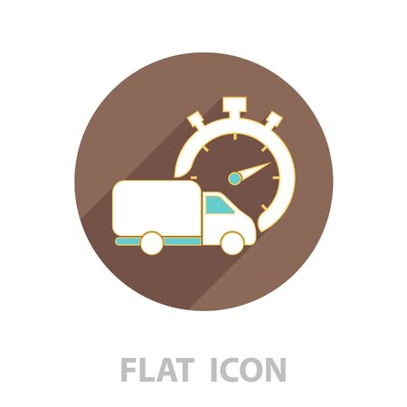 Fast delivery line icon. shipping truck.