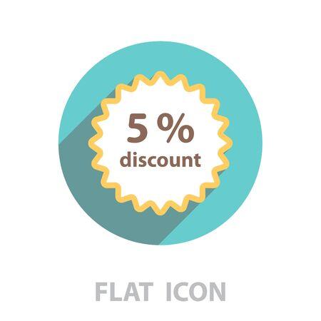 Discount five (5) percent circular icon Ilustração