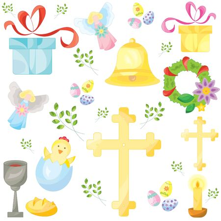 Set of easter color vector icons, signs, symbols. Easter pattern  イラスト・ベクター素材