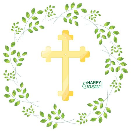 Cross on a background with sprigs. Happy Easter! 일러스트