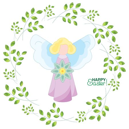 Angel with a flower on a background with sprigs. Happy Easter!
