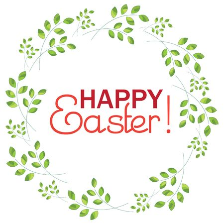 Inscription Happy Easter on a background with sprigs  Ilustracja