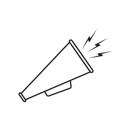 Megaphone icon line, linear vector. Black icon megaphone on white background Illustration