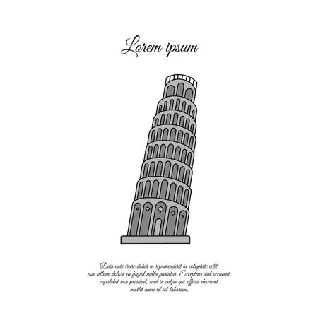 Leaning Tower of Pisa color vector icon, sign, symbol 일러스트