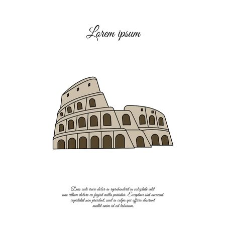 Colosseum in Rome color vector icon, sign, symbol