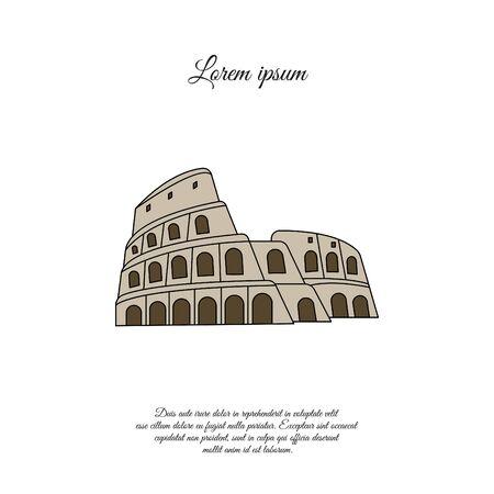 Colosseum in Rome color vector icon, sign, symbol