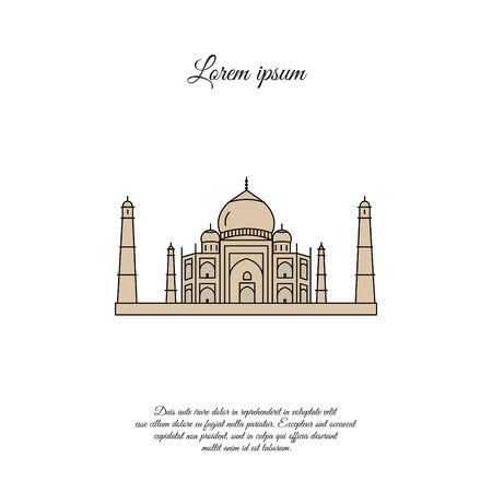 Taj Mahal color vector icon, sign, symbol