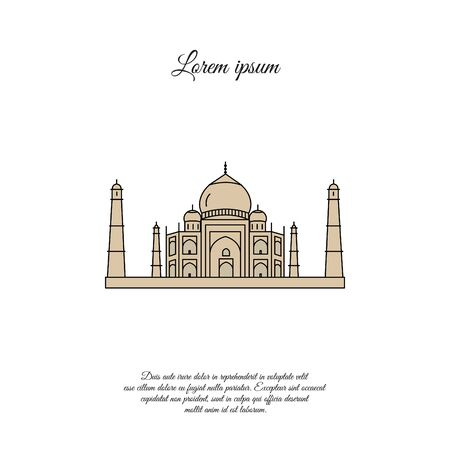 Taj Mahal color vector icon, sign, symbol
