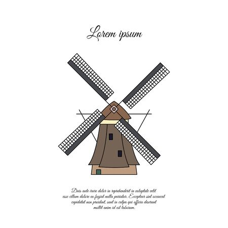 Windmill in Holland color vector icon, sign, symbol Stock Illustratie