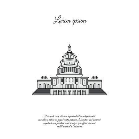 Capitol color vector icon, sign, symbol Illustration