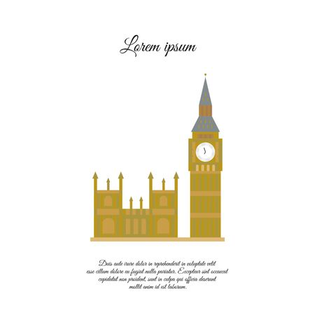 Big Ben and the Palace of Westminster in London color vector icon, sign, symbol