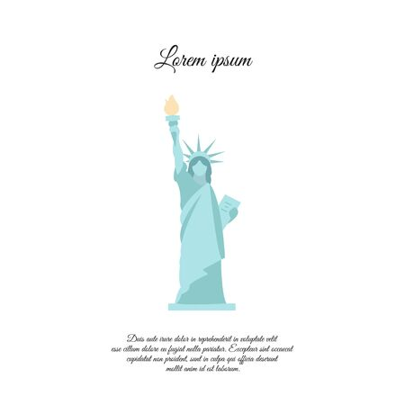 Statue of Liberty in New York color vector icon, sign, symbol