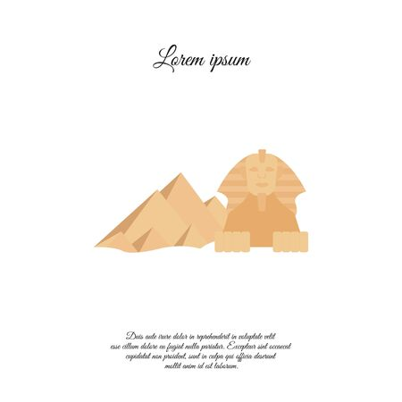 Egyptian Pyramids and Sphinx color vector icon, sign, symbol