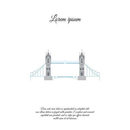 London Bridge color vector icon, sign, symbol