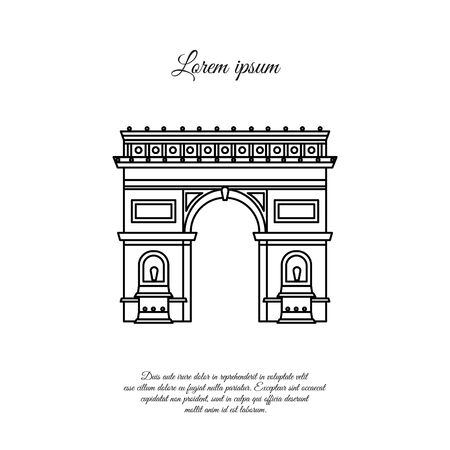 Arc de Triomphe in Paris vector line icon, sign, symbol