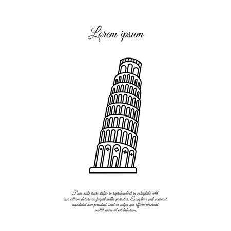 Leaning Tower of Pisa vector line icon, sign, symbol 일러스트