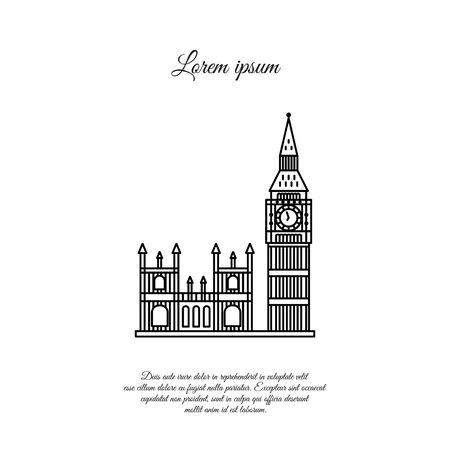 Big Ben and the Palace of Westminster in London vector line icon, sign, symbol