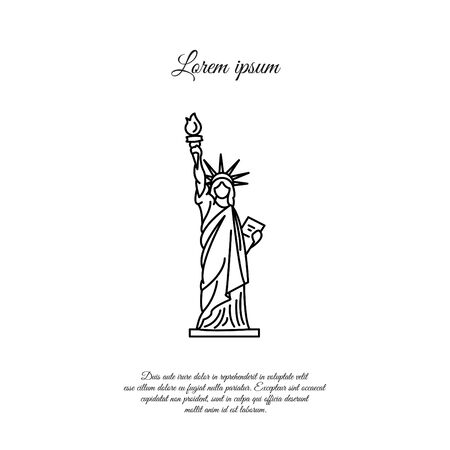 Statue of Liberty in New York vector line icon, sign, symbol