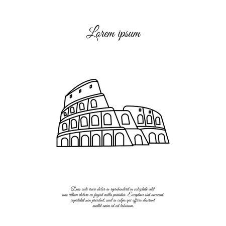 Colosseum in Rome vector line icon, sign, symbol