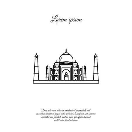 Taj Mahal vector line icon, sign, symbol
