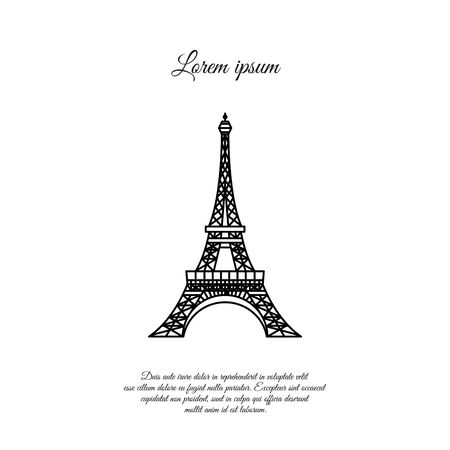 Eiffel Tower in Paris vector line icon, sign, symbol 向量圖像
