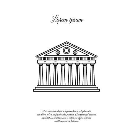 Parthenon in Athen Vektorlinie Symbol, Zeichen, Symbol