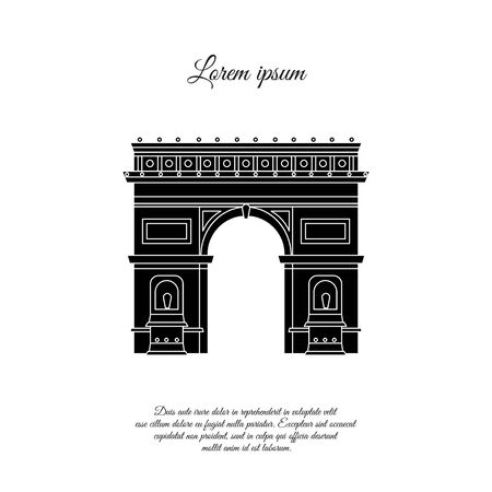 Arc de Triomphe in Paris vector icon, sign, symbol 일러스트