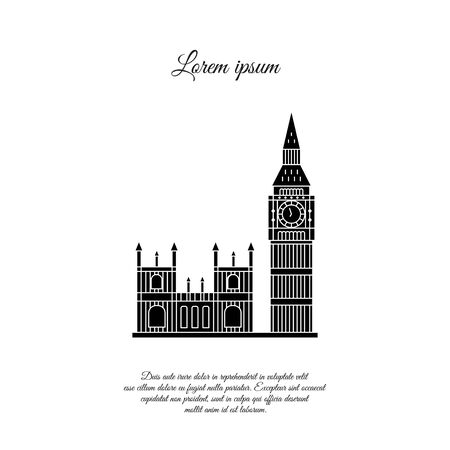Big Ben and the Palace of Westminster in London vector icon, sign, symbol
