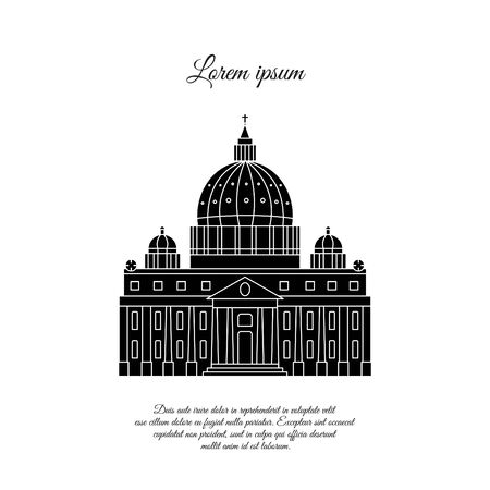 St. Peters Cathedral in Rome vector icon, sign, symbol