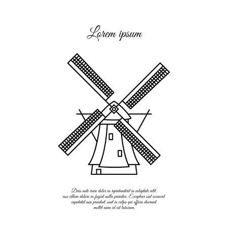 Moulin à vent en ligne vectorielle de Hollande, icône linéaire, signe, symbole