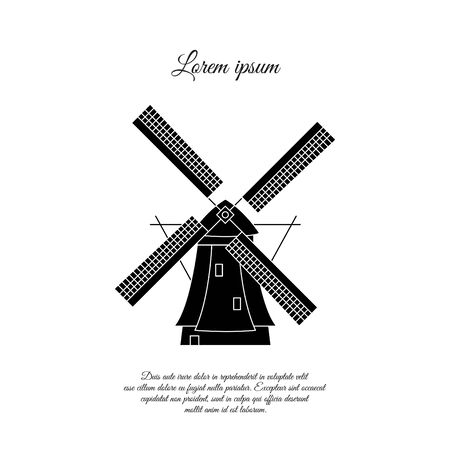 Windmill in Holland vector icon, sign, symbol Stock Illustratie