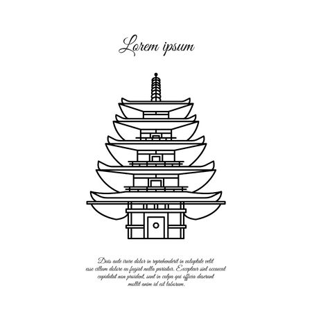 Pagoda, stupa vector line, linear icon. Japanese traditional building sign, symbol Illustration
