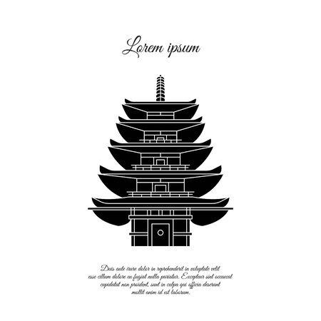 Pagoda, stupa vector icon. Japanese traditional building sign, symbol