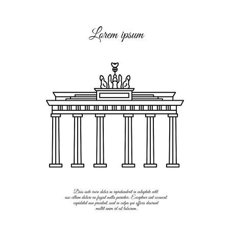 Brandenburg Gate vector black. Brandenburg Gate line icon. Brandenburg Gate sign. Brandenburg Gate symbol. Illustration
