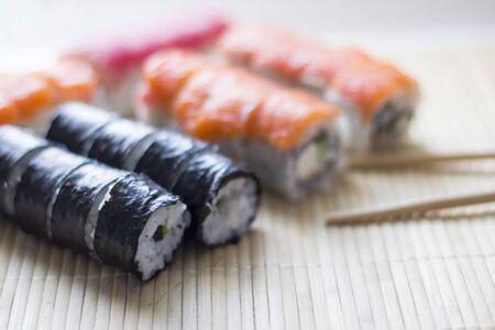Sushi. Japanese national cuisine. Traditional fresh japanese sushi rolls 스톡 콘텐츠